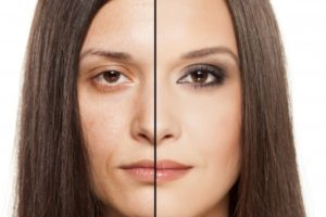 24643390 - a woman s face with handing out before and after makeup