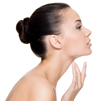 woman focusing on her neck